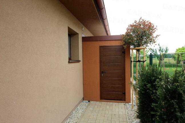 Oranžovo hnedý záhradný domček GARDEON