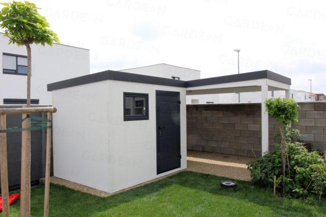 Biely záhradný domček GARDEON s prístreškom