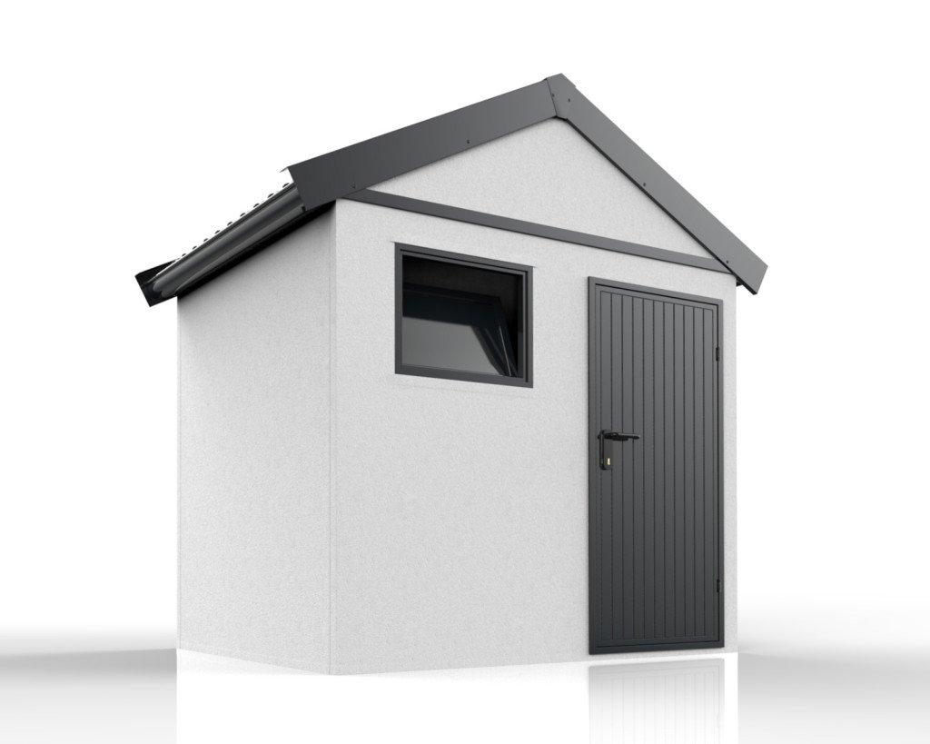 Moderný záhradný domček so sedlovou strechou