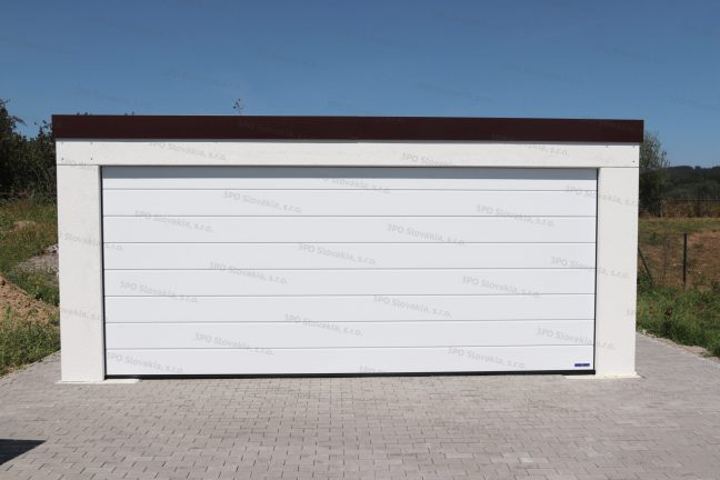 Moderná garáž pre dve autá s hnedou strechou
