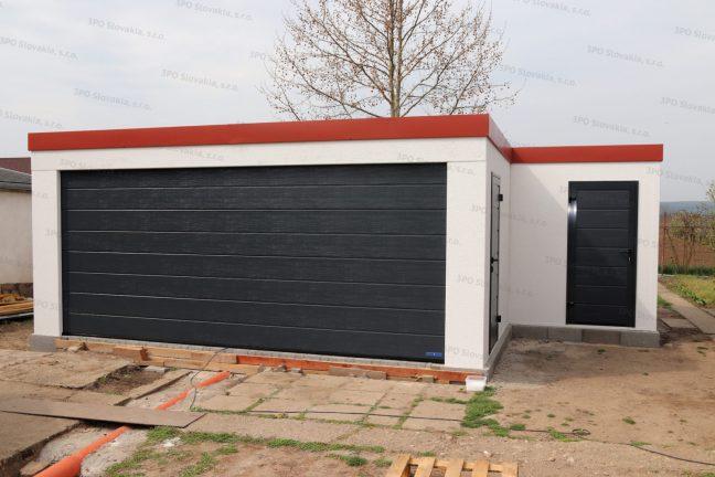 Atypická montovaná garáž s bočným skladom GARDEON