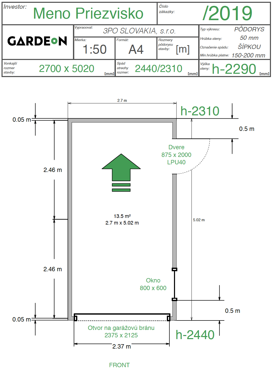 Nákres montovanej garáže GARDEON