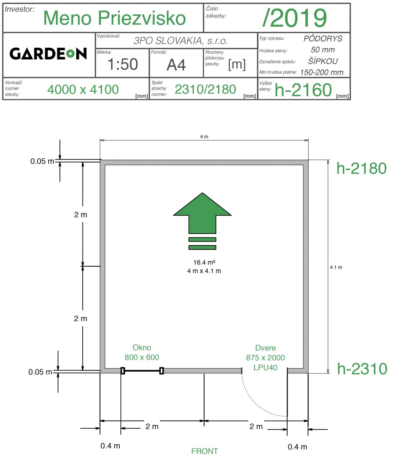 Nákres záhradného domčeka GARDEON