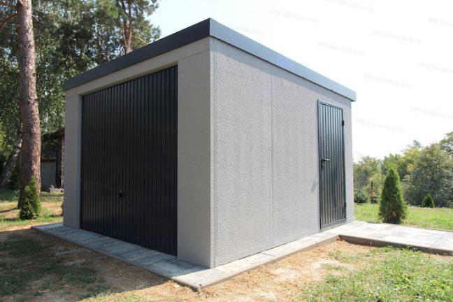 Montovaná garáž GARDEON v svetlo-sivej omietke