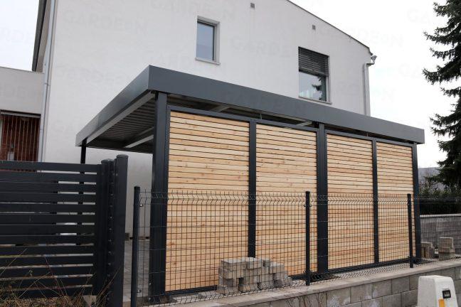 Dizajnové drevené zásteny na prístrešku SIEBAU