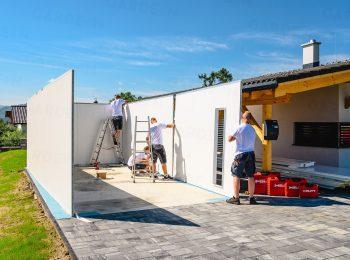 Montáž zateplených stien garáže GARDEON
