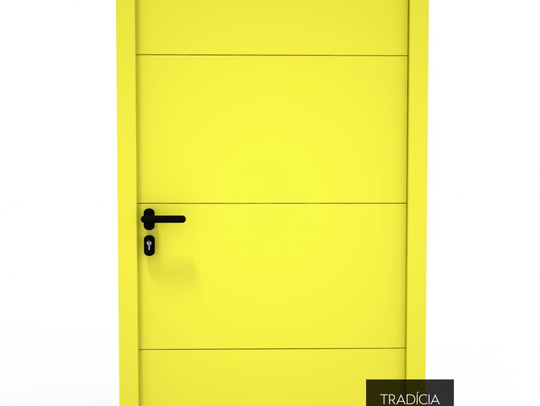 Dvere Hörmann LPU 42 v citrónovo žltej farbe